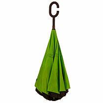 Ветрозащитный зонт обратного сложения д110см 8сп WHW17133 Green L., фото 2