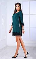 Женское платье со стразами и кружевом (бутылочное) Poliit № 8435
