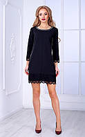 Женское платье со стразами и кружевом (черное) Poliit № 8435