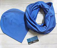 Комплект шапка+шарф из трикотажа 090204 - голубой
