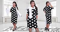"""Нежное женское платье в горошек из ткани """"Французский трикотаж"""" 48 размер батал"""