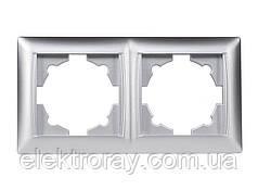 Двойная рамка Luxel Primera серебро
