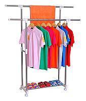 Передвижная напольная вешалка стойка для одежды Double Pole (двойная телескопическая)