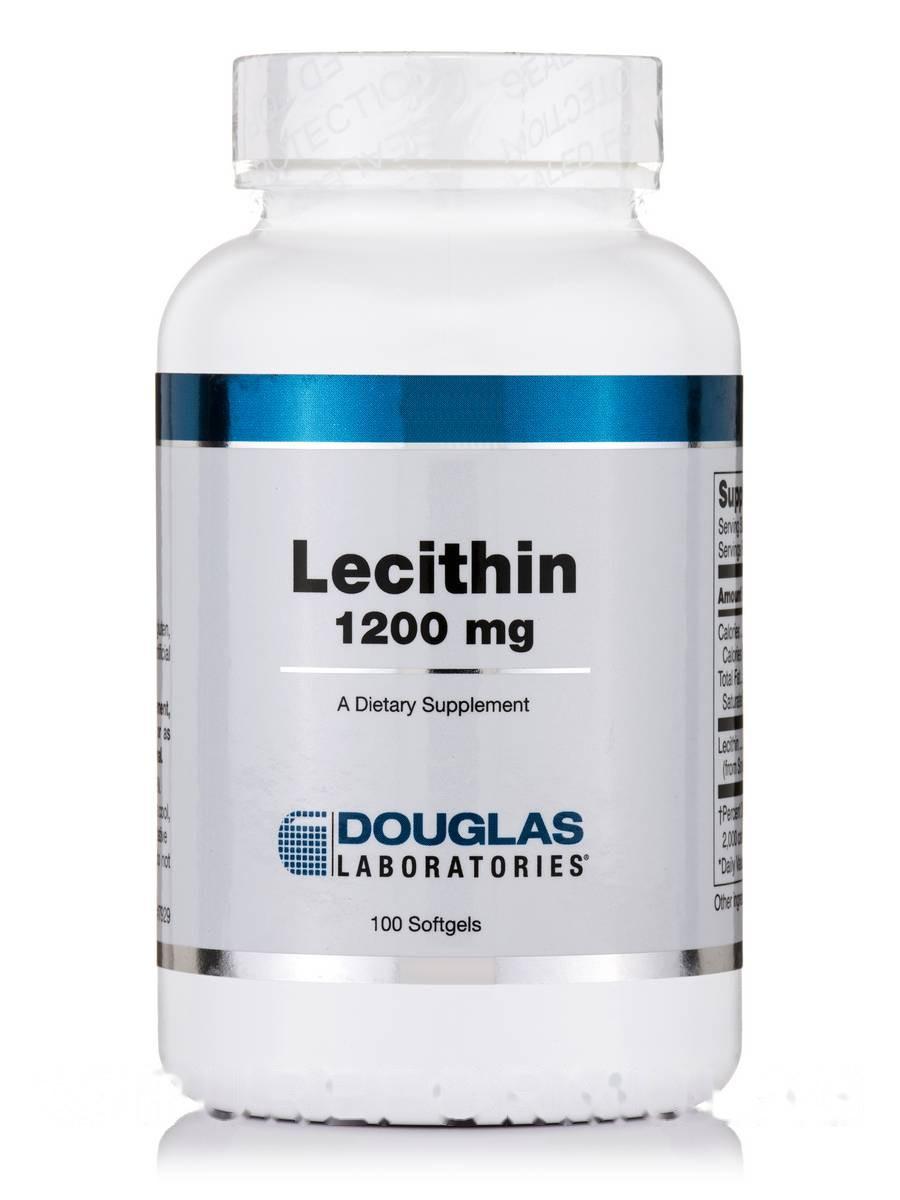 Лецитин 1200 мг, Lecithin, Douglas Laboratories, 100 мягких гелей