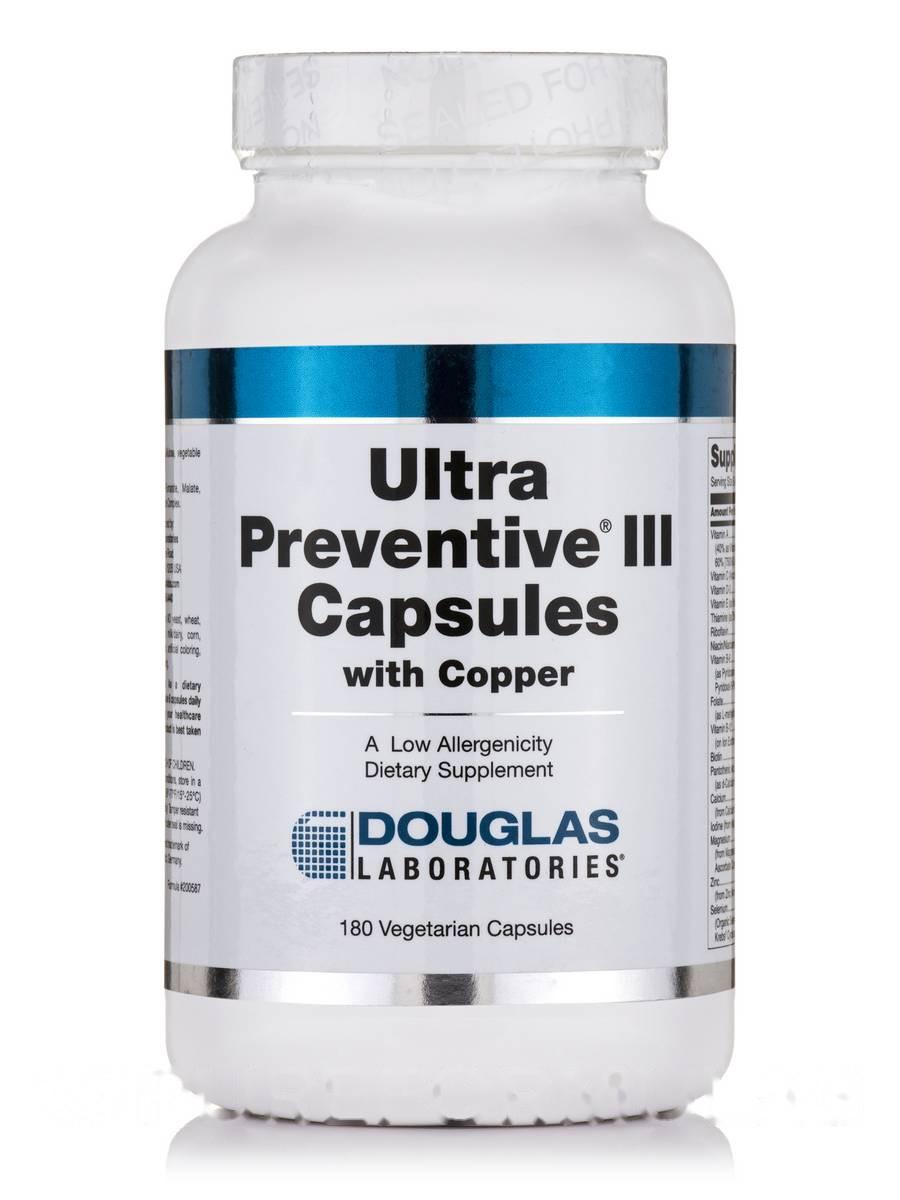 Ульра Профилактика III с медью, Ultra Preventive III with Copper, Douglas Laboratories, 180 Вегетарианских Капсул