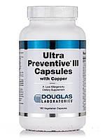 Ульра Профилактика III с медью, Ultra Preventive III with Copper, Douglas Laboratories, 180 Вегетарианских Капсул, фото 1