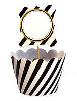 Топпер и обертка Набор для украшения праздничного черно-белый