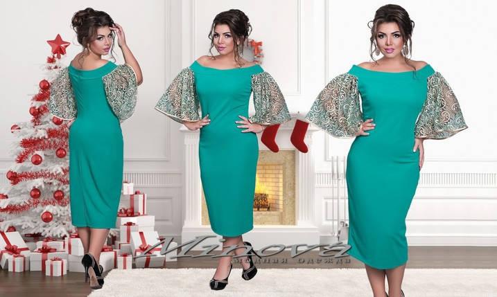 """Стильное женское платье с рукавами в форме колокола ткань """"Хлопок+Стрейч"""" 48, 50 размер батал, фото 2"""