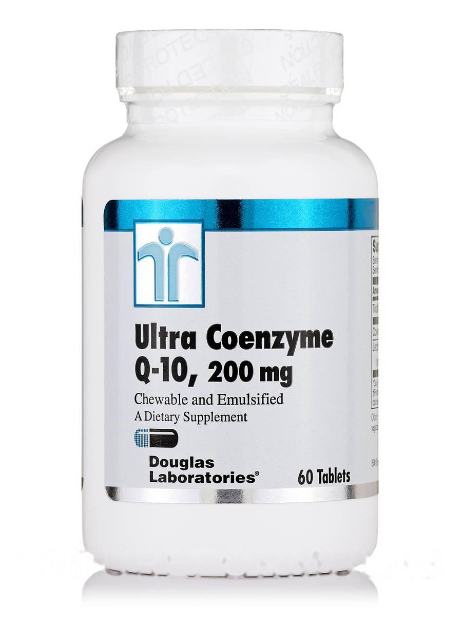 Ультра Коэнзим Q-10, Ultra Coenzyme Q-10, 200 мг (жевательные), Douglas Laboratories, 60 Таблеток