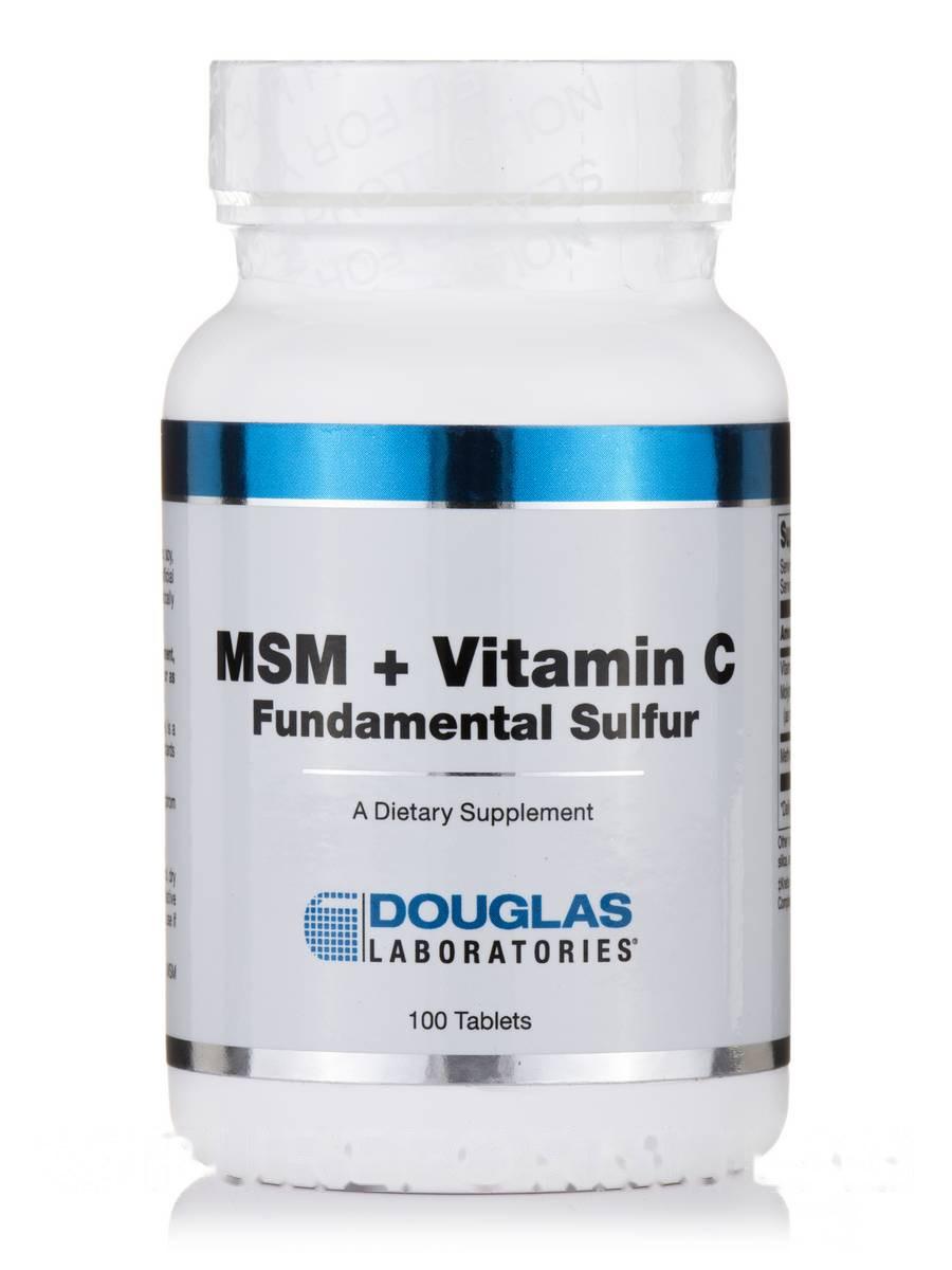МСМ + витамин С (Фундаментальная сера), MSM + Vitamin C, Douglas Laboratories, 100 таблеток