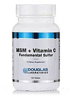 МСМ + витамин С (Фундаментальная сера), MSM + Vitamin C, Douglas Laboratories, 100 таблеток, фото 1
