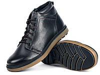 Кожаные мужские удобные модные стильные черные зимние ботинки 42 Mida