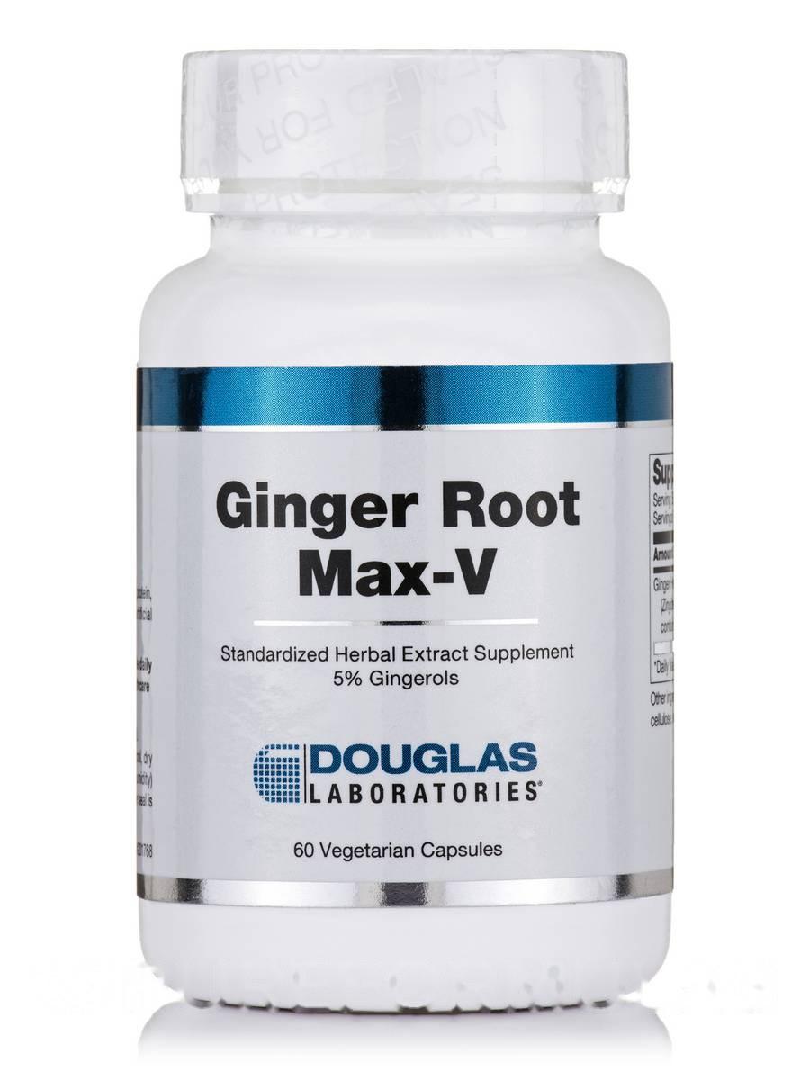 Имбирный корень Max-V, Ginger Root Max-V, Douglas Laboratories, 60 вегетарианских капсул