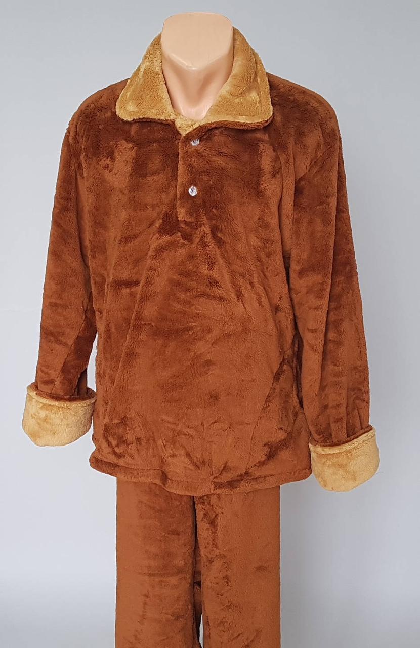 Пижама мужская махровая с отложным воротником