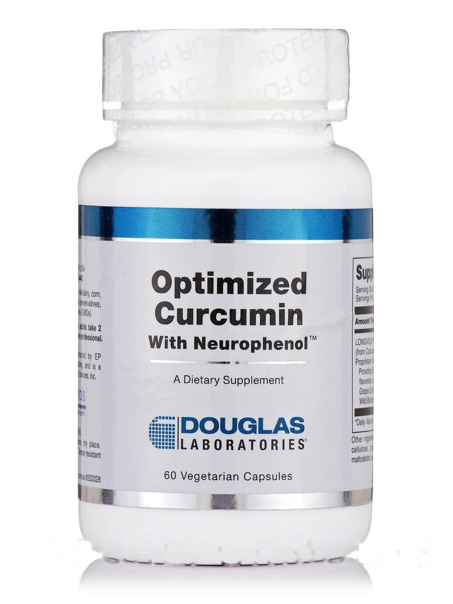 Оптимизированный куркумин с нейрофенолом, Optimized Curcumin with Neurophenol, Douglas Laboratories, 60 вегетарианских капсул