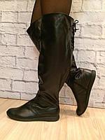 Ботфорты черные из натуральной кожи сзади шнуровка (любой цвет,сезон,обьем голени) код 2217, фото 1