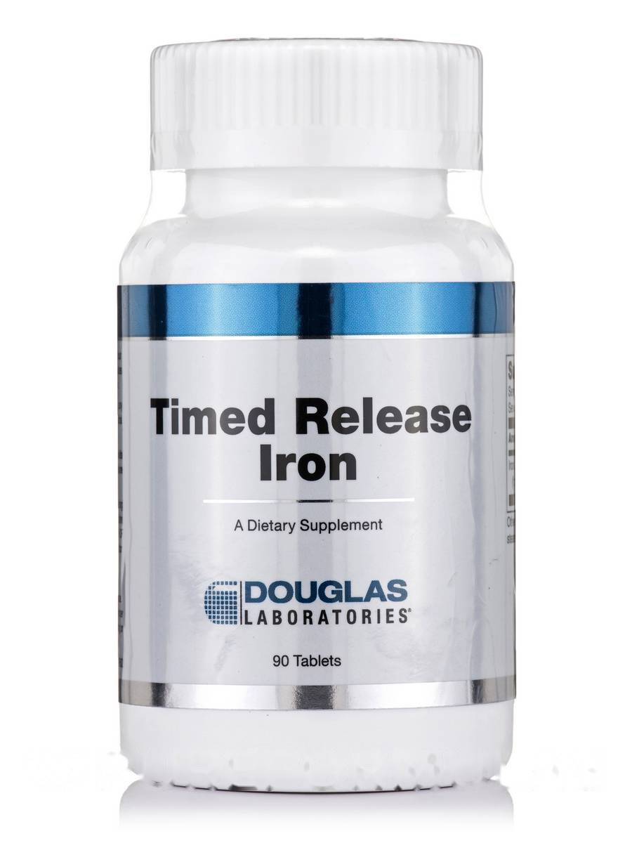 Железо, Timed Release Iron, Douglas Laboratories, 90 Taблеток