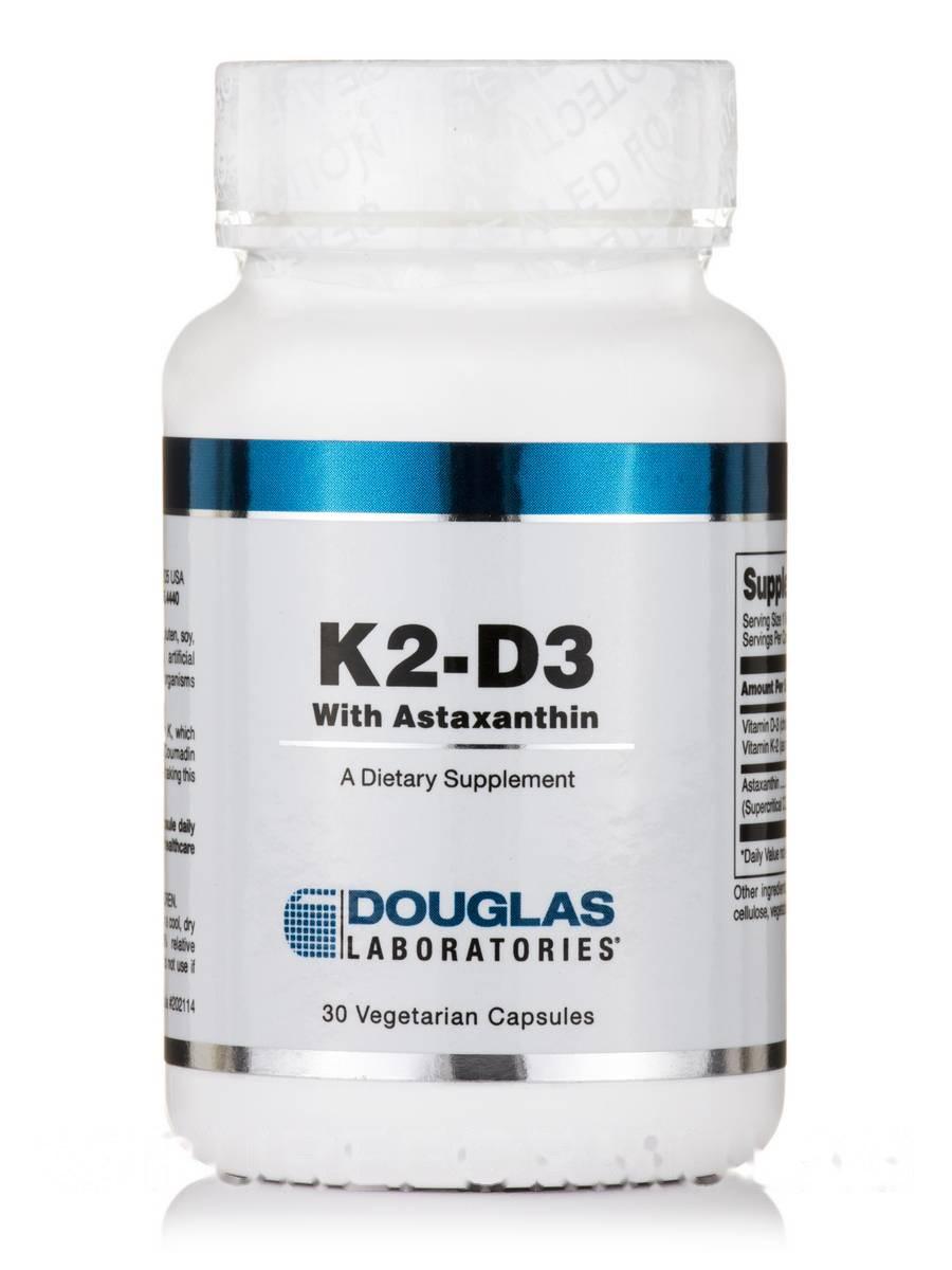 K2-D3 с астаксантином, K2-D3 with Astaxanthin, Douglas Laboratories, 30 вегетарианских капсул