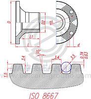 Фланец редуктора (175х4х15mm, шлиц 16-65х56мм) Н=90мм; ср/моста, кардан с подвесн. МАЗ