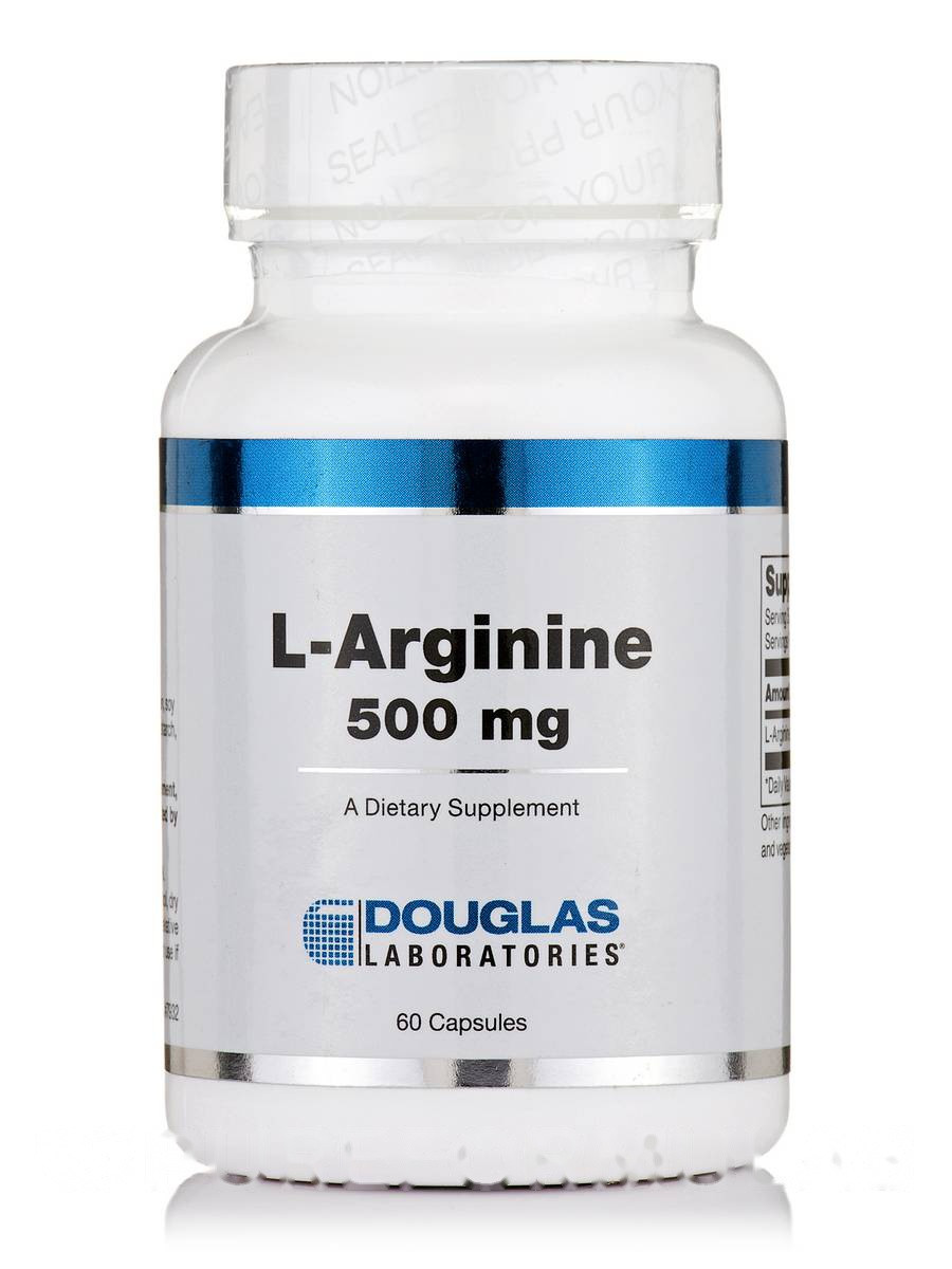 L-аргинин 500 мг, L-Arginine, Douglas Laboratories, 60 капсул