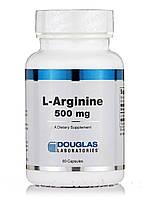 L-аргинин 500 мг, L-Arginine, Douglas Laboratories, 60 капсул, фото 1