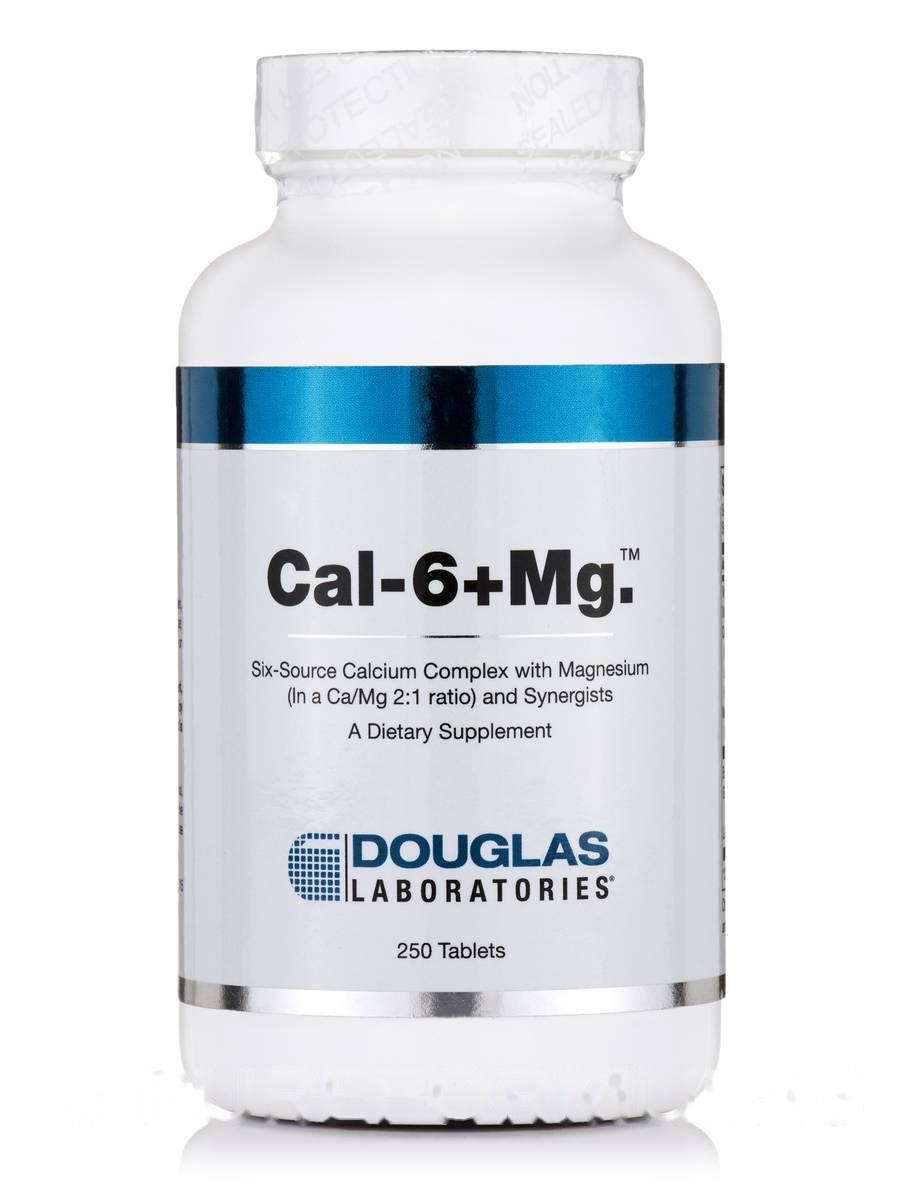 Калий-6 + Магний, Cal-6 + Mg, Douglas Laboratories, 250 Таблеток
