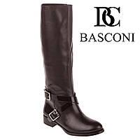 Сапоги женские Basconi (стильные, с двойными ремишка, на низком ходу, кожаные)