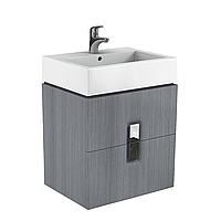 TWINS шкафчик под умывальник 80см, с двумя ящиками, серебряный графит