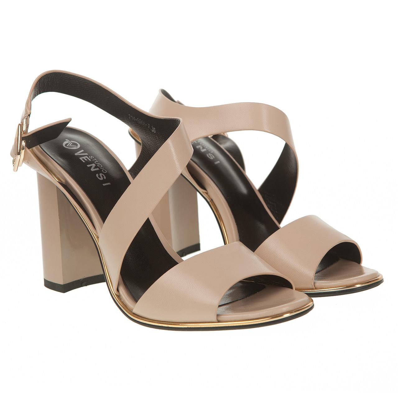 f174a27cdb5b Босоножки женские Vensi (бежевые, на высоком каблуке, классические, модные,  легкие)