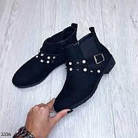 Стильные ботинки декор шипы, материал искусственная замша