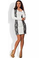 Платье из французского трикотажа белое с кружевом