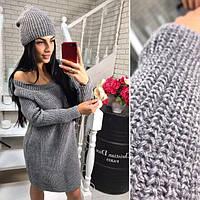 Комплект вязанное короткое платье + шапка, размер 42-46