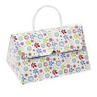 Коробка - сумка с пёстрыми цветочками