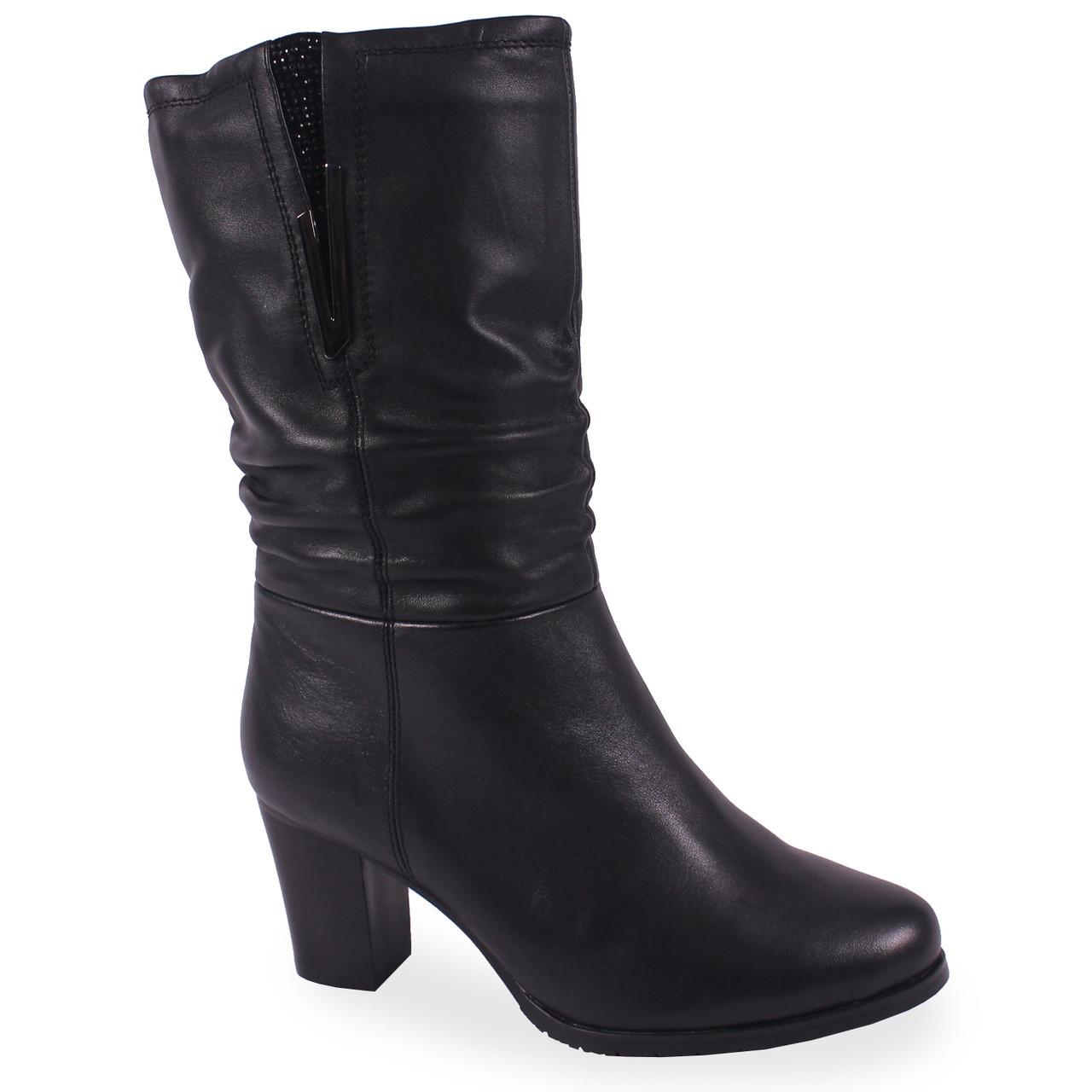 ec46b48f9cf1 Модные женские полусапоги С.Clouds (черные, зимние, на каблуке, есть замок