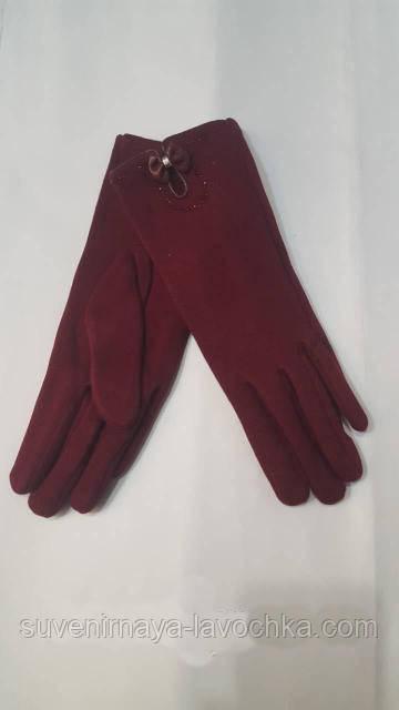 Перчатки женские комбинированные замш-трикотаж внутри плюшка
