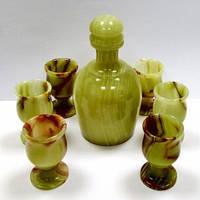 Набор графин плюс 6 рюмок из  натурального камня оникса
