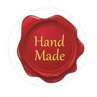 """Наклейка красная на прозрачной основе """"Hand made"""", диаметр 25 мм, набор из 10 шт"""