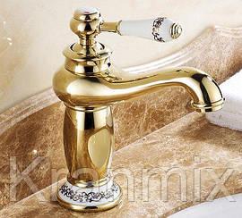 Смеситель для раковины Aquaroom золото кран для умывальника в ванную в душ