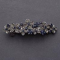 Заколка для волос Цветочная поляна с темно синими кристаллами серебристая L-8см автомат