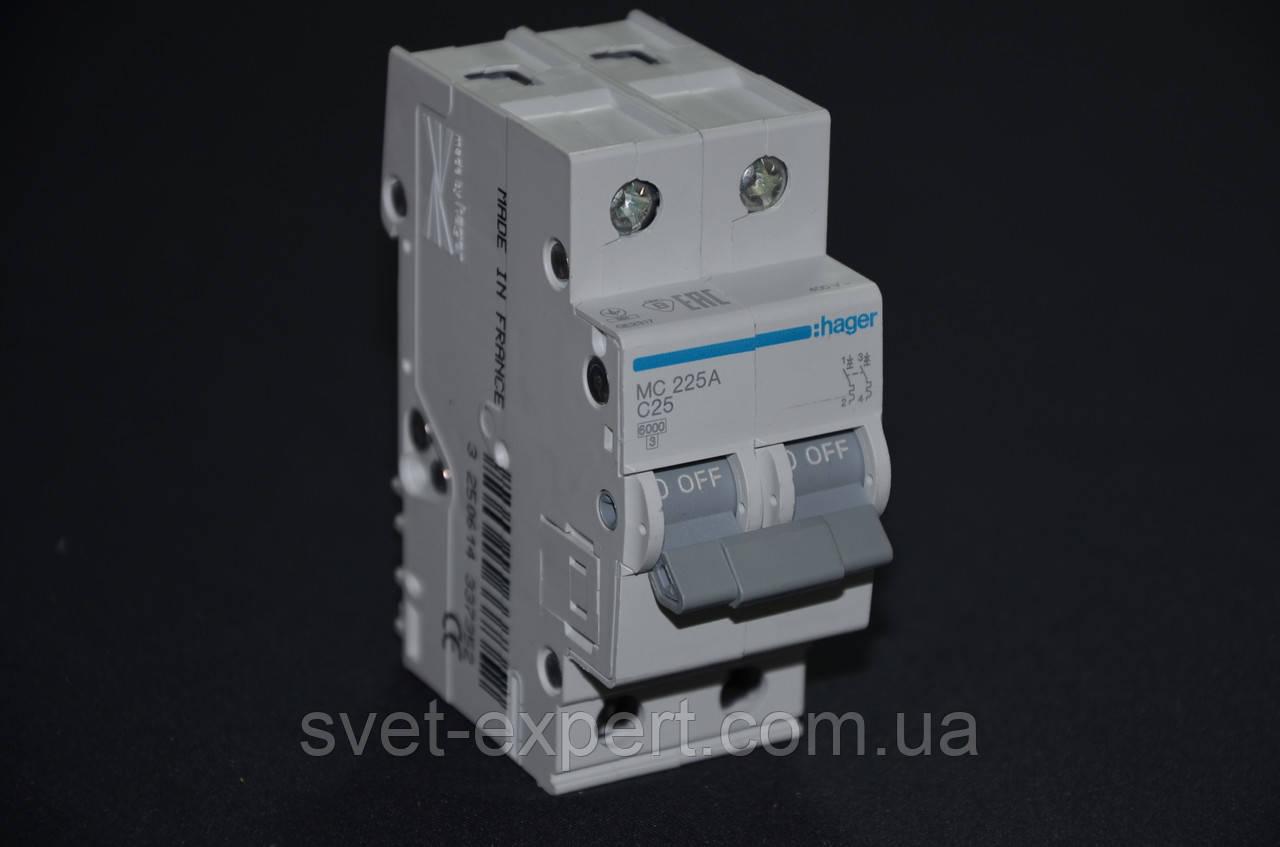 Автоматический выключатель Hager 25A 6кА 2 полюса тип С EN 60898/IEC 60898
