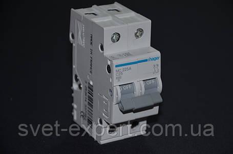 Автоматический выключатель Hager 25A 6кА 2 полюса тип С EN 60898/IEC 60898, фото 2
