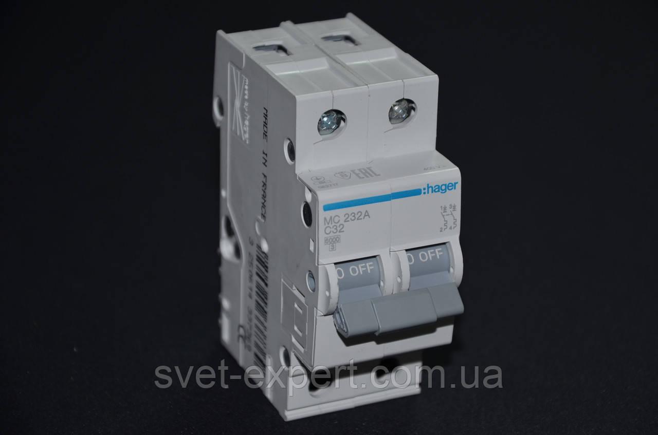 Автоматический выключатель Hager 32A 6кА 2 полюса тип С