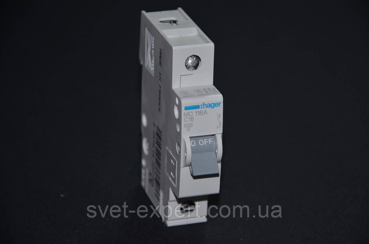 Автоматический выключатель Hager 16A 6кА 1 полюс тип С