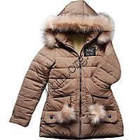 Куртка подростковая на меху для девочек 10-15 лет бежевый Оптом 051003