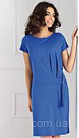 Летнее женское платье синего цвета свободного кроя с коротким рукавом. Модель Otilde Top-Bis.