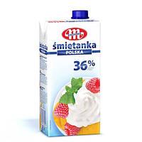 Сливки натуральные Smietanka Polska, 36%, 1 л, Mlekovita, Польша
