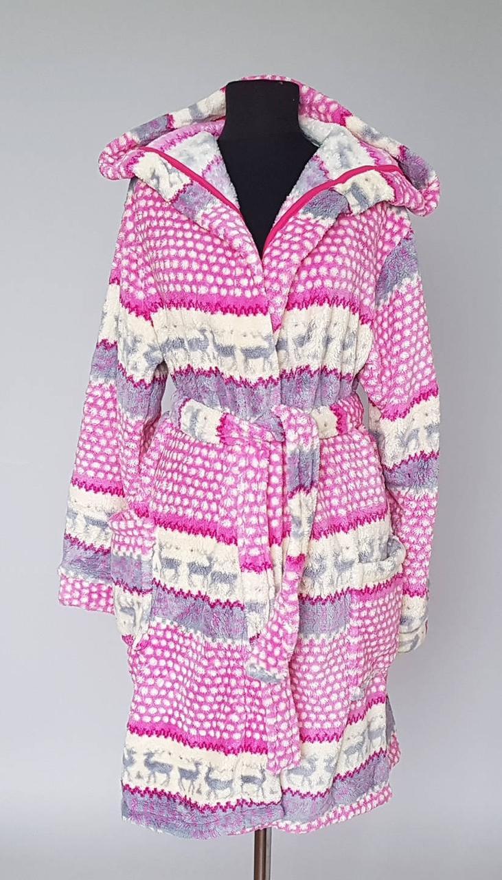 Женский халат махровый с оленями розовый