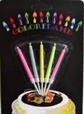 5 шт./уп.  Свечи для торта с разноцветными огнями на подставках