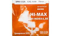 Полимерная линза Hi-Max тонированная 20% c защитным покрытием EMI. (коричн.)