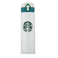 Термос Starbucks New (Тамблер Старбакс) удлиненный 500 мл белый с зеленым